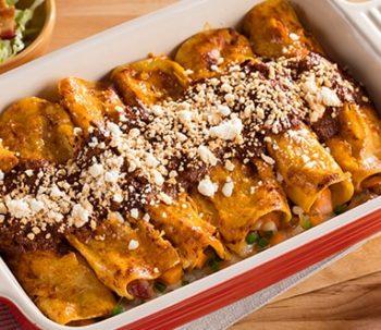 Enchiladas de Camote, Tocino y Queso Oaxaca